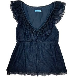 Alice + Olivia silk & Lycra sleeveless lace blouse
